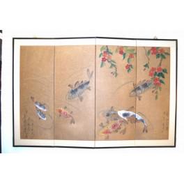 Handmålad vikskärm, fiskar   - Vikskärm,handmålad (från Korea)