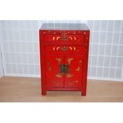 Asiatiskt sängbord/skåp röd, fjäril