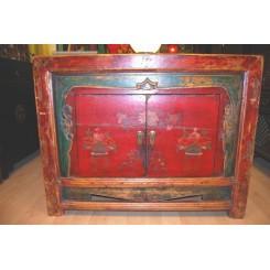 Mongolisk skänk m. patina 106cm b - Byrå/skänk 4 lådor