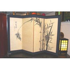Handmålad vikskärm,bambu - Vikskärm liten m.bambu