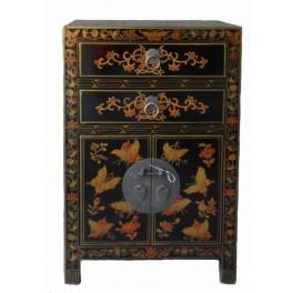 Sängskåp/sängbord asiatiskt svart/fjäril