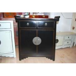 Dekorativt kinaskåp/byrå svart 30 cm djup