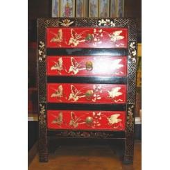 Sängskåp 4 lådor röd/svart