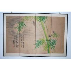 Vikskärm med bambu och fåglar - Vaikskärm med bambu och fåglar