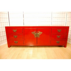 TV bänk/Bänk fjäril röd