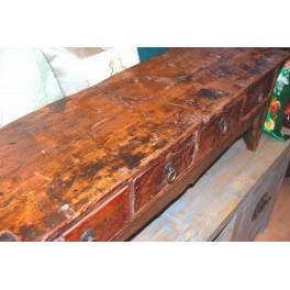 Gammal bänk/bord m. 4 lådor - Antikt lågt bord
