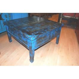 Antikt bord blå m. lådor - Antikt bord m. lådor