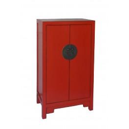 Litet kinaskåp röd 102 cm högt