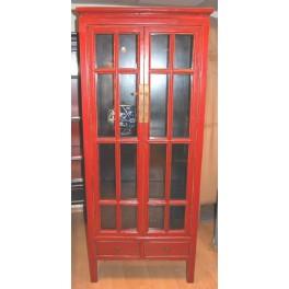 Smalt vitrinskåp röd 190h