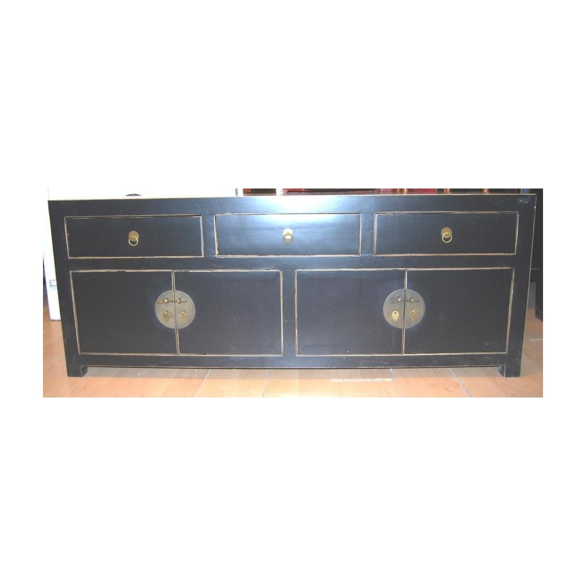 asiatisk tv b nk svart 140 cm. Black Bedroom Furniture Sets. Home Design Ideas