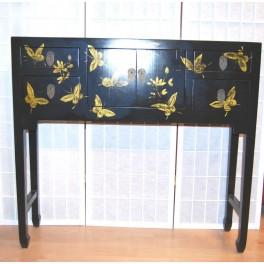 Asiatiskt sidobord/byrå svart fjäril