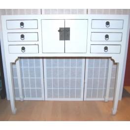 Smalt sidobord vit 6 lådor 100 cm