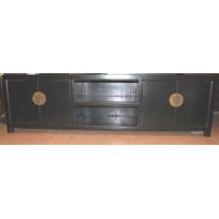 Lång svart TV bänk marmor 190 cm