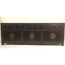 Svart TV bänk asiatisk stil svart 180 cm
