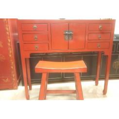 Smalt sidobord röd 6 lådor 100 cm