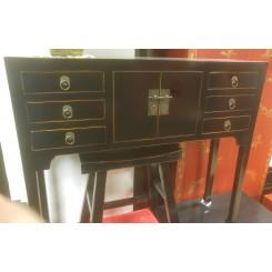 Smalt sidobord svart 6 lådor 100 cm