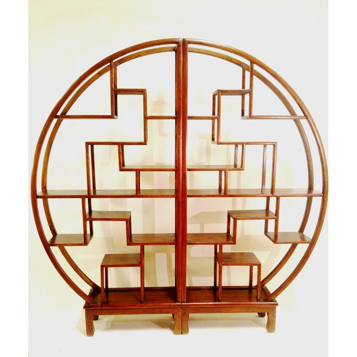 Klassisk kinesisk bokhylla - Brun