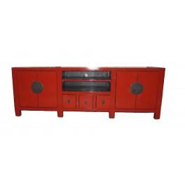 TV bänk röd 180 cm flera lådor